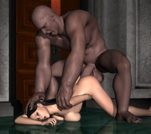 black monster cock stretches a cute brunette girl
